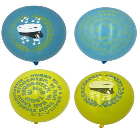 Blå och Gula ballonger för studenten med olika tryck