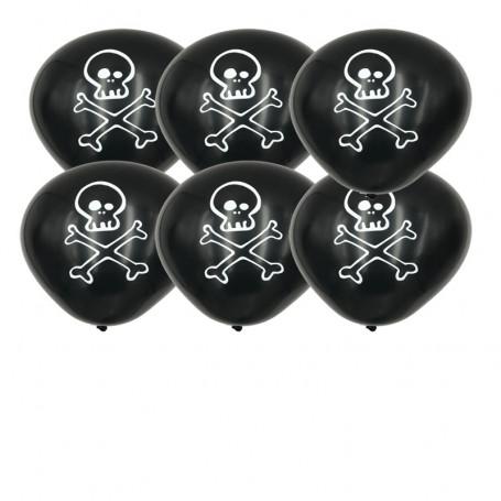 Ballonger med Dödskalle tryck 6-p