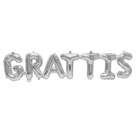 """Folieballong """"GRATTIS"""" helium födelsedag silver text"""