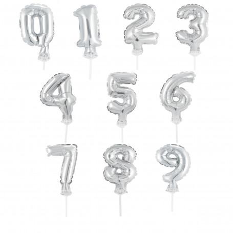 Miniballonger med siffror silver 0-9