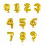 Miniballonger Guld med siffror 0-9