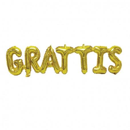 "Folieballong ""GRATTIS"" guld text födelsedag student studentfest"