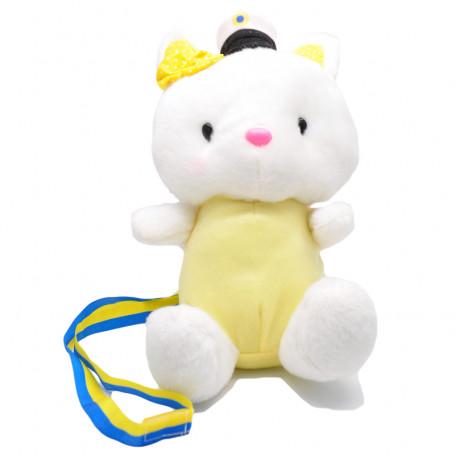 Examensmaskot gul och vit kanin med studentmössa student pynt
