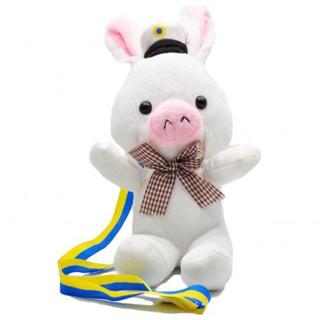 Examensmaskot gris med studentmössa vitt studentmaskot student pynt