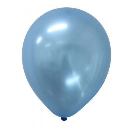 Blå pärlemor-skimrande ballonger metallisk metallic ljusblå latex student studentfest