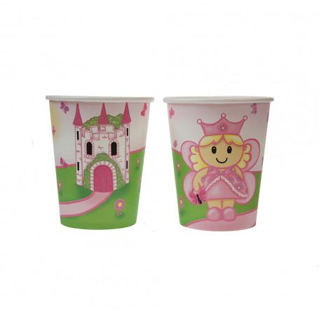 Pappersmugg med en rosa prinsessa och ett slott.