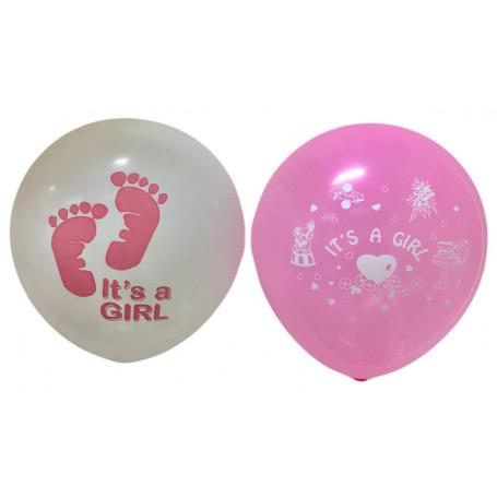 Ballonger latex med tryckt text It´s a Girl vita och rosa