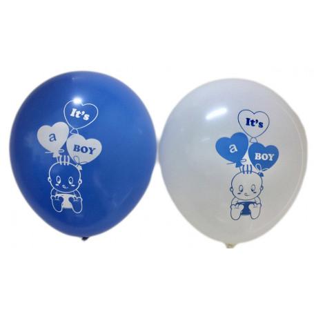 Ballonger med tryckt text It´s a Boy vita och blå