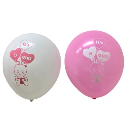 Ballonger med tryckt text It´s a Girl vita och rosa