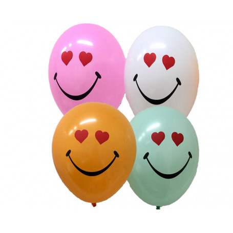Ballonger med Hjärtsmiley tryckt på 8-p