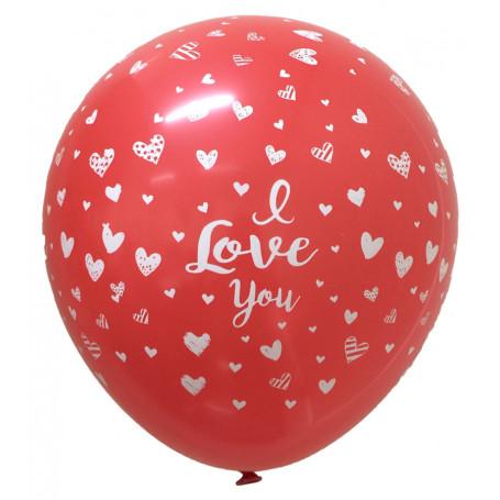Latexballong med tryck I love You och hjärtan 8-p