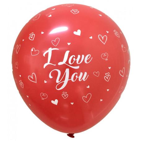 Ballonger med tryck vit text I Love You 8-p