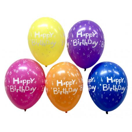 Ballonger med text Happy Birthday mix frg 5-p