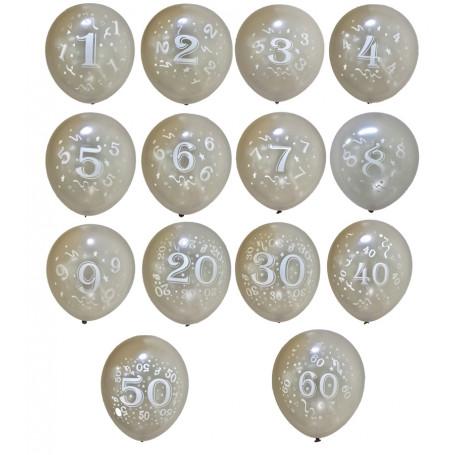 Ballonger Silver med tryckta siffror 8-p