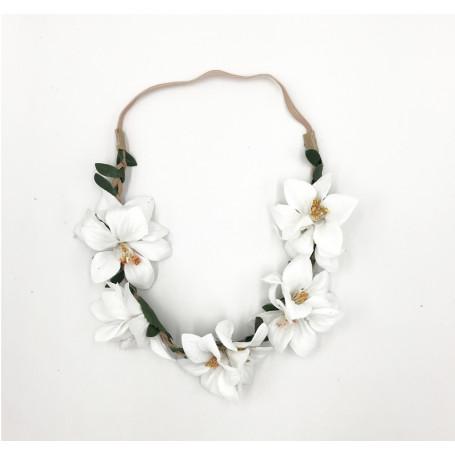 Hårband  Blomsterkrans - Vit