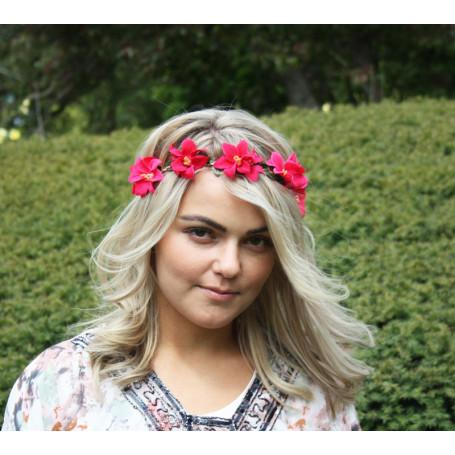 Hårband  Blomsterkrans - Rosa