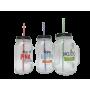 Drickaburk av glas med 3 olika tryck på framsidan; - Piña colada, Happy drink och Mojito.