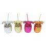 Sugrörsglas som är utformat som en ananas. Välj mellan färgerna silver, guld, rosa och brons, alla i metallicfärger.