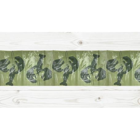 Grön bordslöpare i plast dekorerade med mörkgröna silhuetter av kräftor.