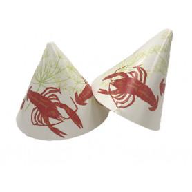vit kalashatt med röd kräfta och gröna dillkronor