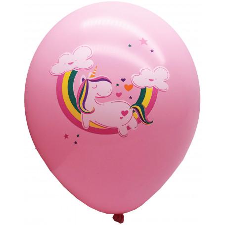 Rosa ballong med Unicorn och regnbåge.