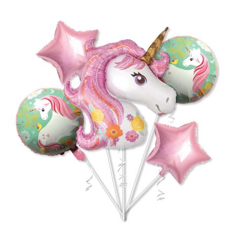 Unicorn ballong och stjärnor och ballonger med tryck