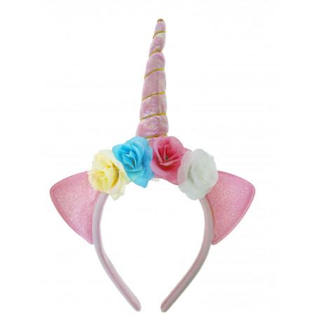 Rosa Unicorn diadem med blommor och horn som kan blinka.