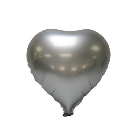 Hjärtformad folieballong Chrome Silver