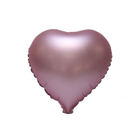Hjärtformad folieballong Metallic Rosa