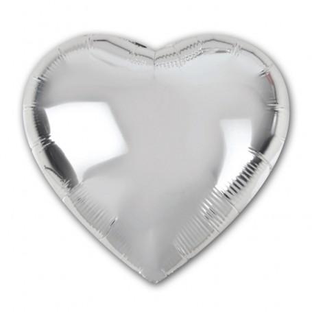 Folieballong i form av hjärta silverfärgad