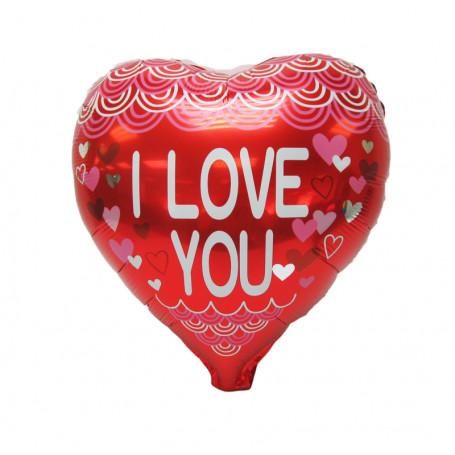 Hjärtformad folieballong med texten I Love You