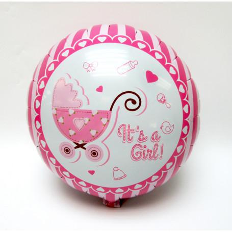 Baby Shower folieballong med texten It´s a girl rosa