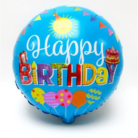 Folieballong med texten Happy Birthday blå bakgrund