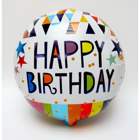 Kalasfolieballong med text Happy Birthday vit bakgrund