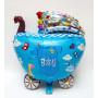 Folieballong i form av vagn BABY BOY blå
