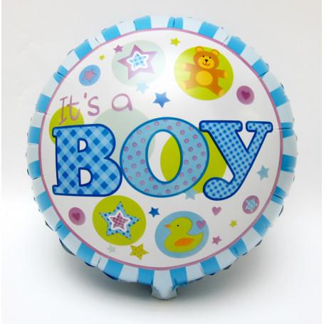Folieballong med text Baby Boy ljusblå