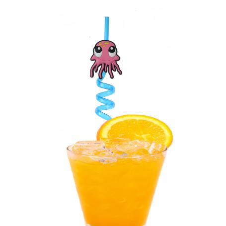 Sugrör i plast med spiral och en söt bläckfisk som är rosa.