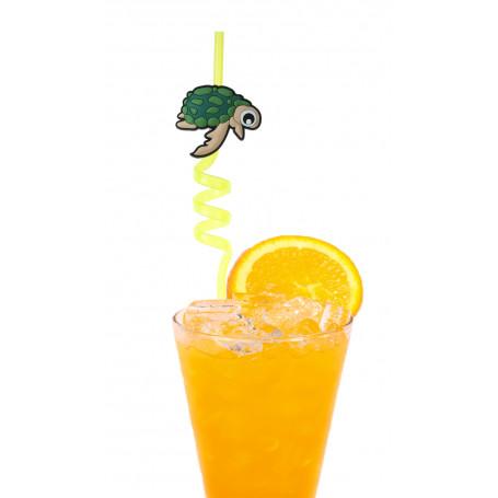 Plastsugrör med spiral och en söt sköldpadda.