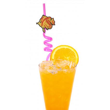 Plastsugrör med spiral och en rolig fisk som är gul och orange.
