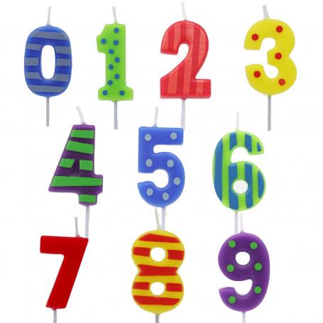 Små Tårtljus siffror med tryck 0-9