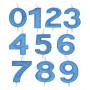Blå sifferljus med glitter 0-9