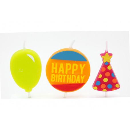 Dekorativa tårtljus Happy Birthday 3-p