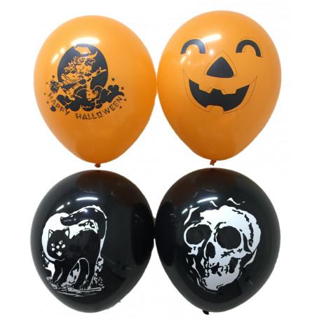 Halloween ballonger med tryck orangea och svarta.