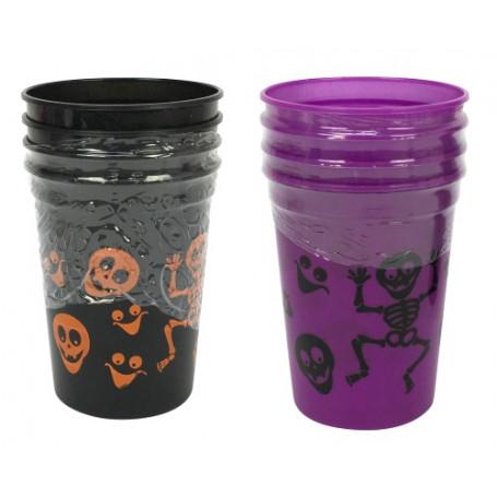 Plastmuggar för halloween, välj mellan lila och svarta muggar.