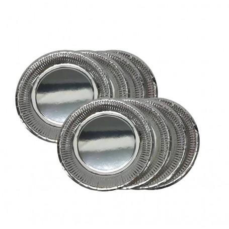 Papperstallrikar i silver.