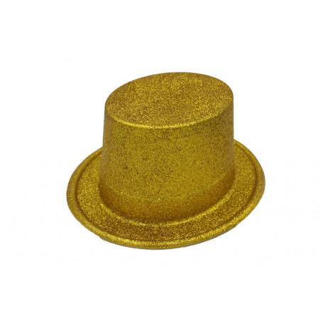 Tophat i guld med guldglitter