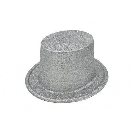 Tophat i silver med silverglitter