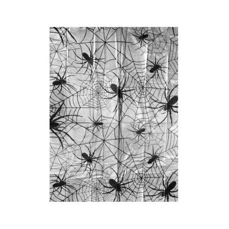 Bordsduk i plast med halloweentema. Välj mellan spindelnät eller blodfläckar på din bordsduk.