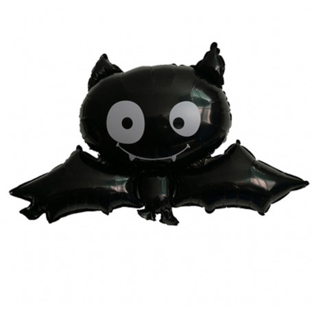 Folieballong i form av en svart Fladdermus med vita ögon.