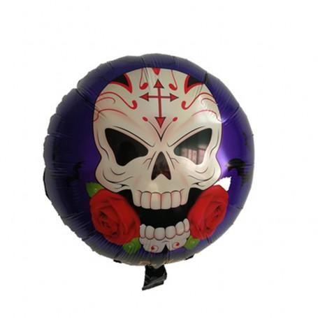 Rund folieballong Halloween med skalle och ros